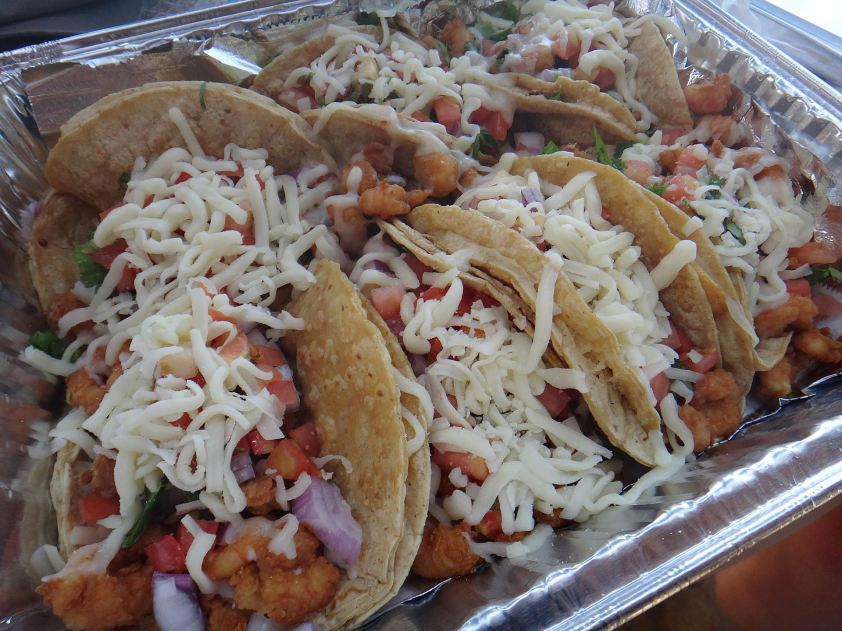 Shrimp tacos at Isla del Mar
