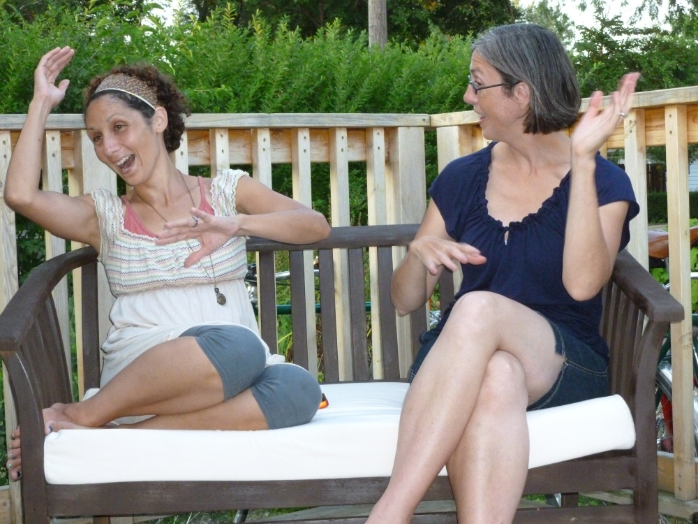 Deck life: Jen and Karen, doing some arm thing.