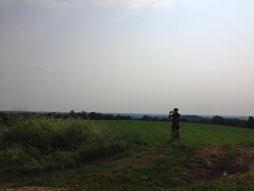 On the ridge, making panoramas.
