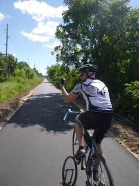 Nate, rolling strong on the newly paved Cannonball Trail.