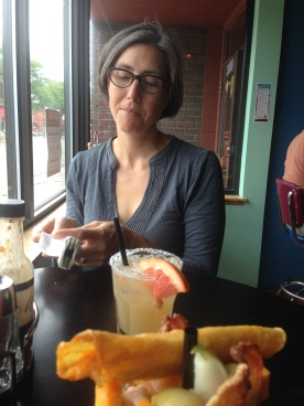 K and her breakfast margarita.