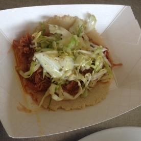 Pulled pork taco.
