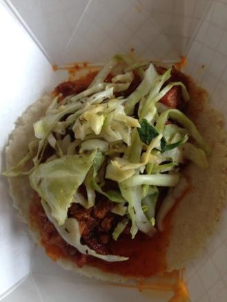 Bacon chorizo taco.