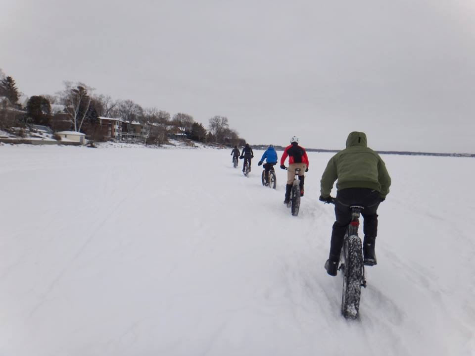 New Year's Day 2014: Fat bikes, frozen lakes, cold, and snow. Starting the year right.