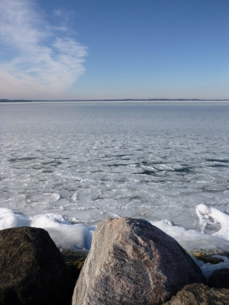 Pancake ice on Lake Mendota.