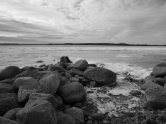 Lake Mendota, half-frozen, from the north point of Governor's Island (which isn't an island).