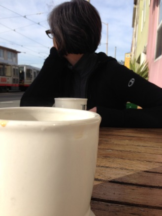 A last cup of coffee at Beachside Cafe.