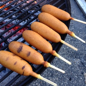 Post-ride grilled corndogs.