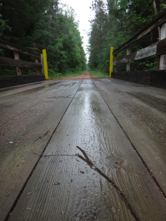Wet trestle = very slippery with cleated shoes.